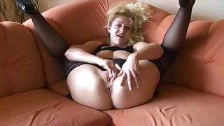 Dirty talk deutsch blonde pleasing her tight pussy till it gets wet
