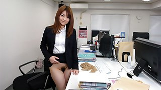 Japanese secretary, Kimoko Tsuji sucks dick, uncensored