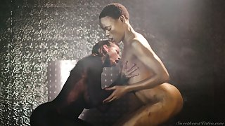 Spectacular lesbian XXX video featuring Alexis Fawx and ebony model with golden skin