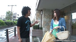 Several dudes fuck mouth of Japanese girl in wooden stocks Saki Aiba