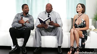 Sinful white housewife Krissy Lynn seduces two black religious dudes