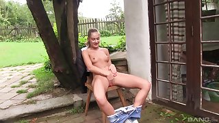 Gorgeous Tiffany Tatum enjoys her outdoor solo masturbation