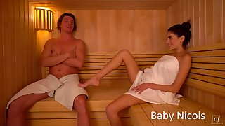 Sextractive girlfriend Baby Nicols gets her pussy licked and fucked in the sauna