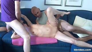 Skinny mature double fucked in a rough threesome at home