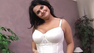 Chubby brunette in white lingerie loves missionary shaved pussy stroking