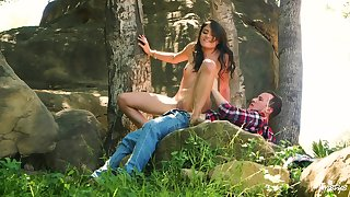 Outdoor sex in the local woods with small tits girl Adria Rae