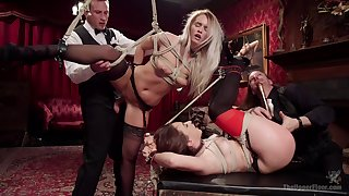 Extreme bondage and anal during a crazy fetish play