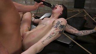 Tattooed young slut, first BDSM in such merciless XXX
