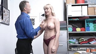 Stealing MILF busted and punished by horny guard