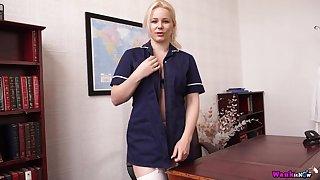 Lustful blonde in uniform Megan gets naked and shows off her assets