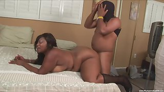 BBW ebony slut loves the dick in both her fat holes