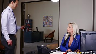 Office sex with fake tits boss lady Alena Croft in blue lingerie
