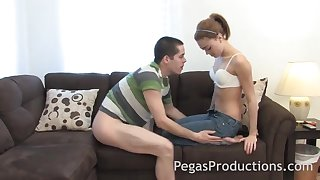 Passionate fucking in the living room with small breasts Dolly Princess