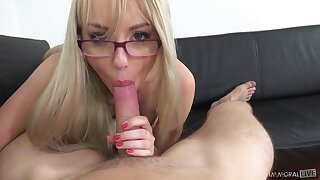 Cutest blonde with plump ass Kira Thorn gives her head on POV camera