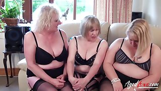 Three mature ladies are playing with one big dick and fucking hard