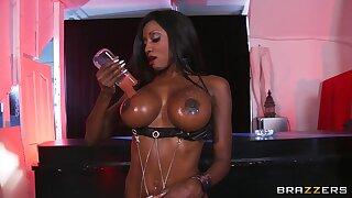 Interracial fucking on the table with oiled pornstar Diamond Jackson