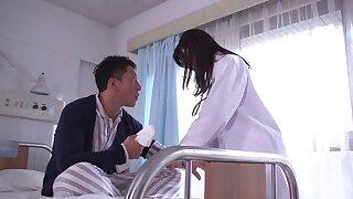 Hardcore fucking on the bed with Japanese nurse Tsukasa Aoi