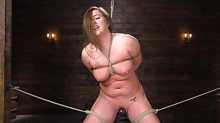 Pawg slave in bondage gets toyed