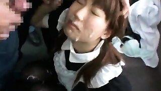 Asian girl blowjob and bukkake