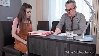 Tricky old teacher enjoys fucking pretty coed Tina Grey and cums in her mouth