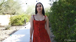 Video of beautiful brunette Jasmin looking at the camera. HD