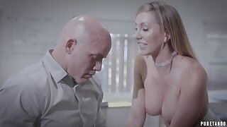 Hot secretary Brett Rossi works extra hours to please her sex starved boss