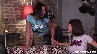 Two bosomy lesbians Katushka and Victoria are finger fucking anal hole