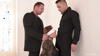 Lovely MILF gets gagged and hard fucked in a kinky threesome
