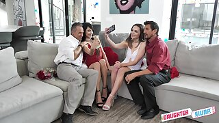 Super kinky daughter swapping all round Aften Opal, Hime Marie and stepdads