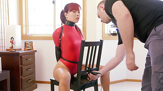 Chair Bound in Red-hot Thong Bodysuit