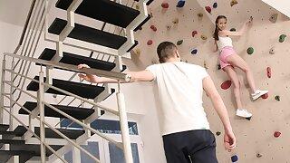 Teen wall-climber pitch-dark takes stiff blarney verification workout