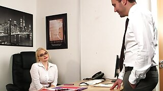 Aroused MILF strips handy the office for a bit of naughty sex