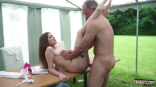 Youthfull nubile entices and tears up elderly henchman then facial cumshot pop-shot