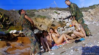 Amazing outdoors group sex bugger about with two sexy models
