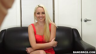 Naughty fair-haired baby Ashley Stone enjoys getting beaten during casting