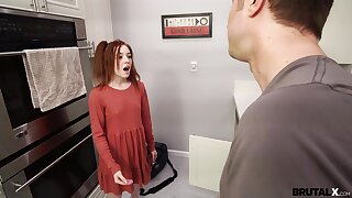 Pithy breast redhead Madi Collins drops on her knees to give a BJ before sex