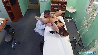 Brunette Gets Doc on transmitted to top of transmitted to Exam Table