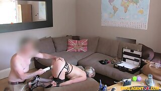 Reproduce penetration for big titted blonde in BDSM style adult casting