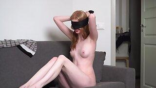 Amateur solo girl Linda Maers blindfolds herself while masturbating