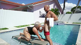 Big loot blonde whore gets intimate by the pool