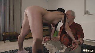 A meditating old man tries forth resist a hot young woman and she loves forth fuck