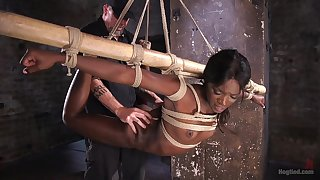 Ebony sweetie Ana Foxxx gets tied up and tortured by a white guy