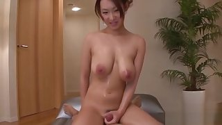 Wet japanese babe with biggest tits rides on a fake penis