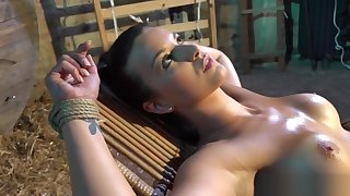 BDSM babe teased and toyed by master